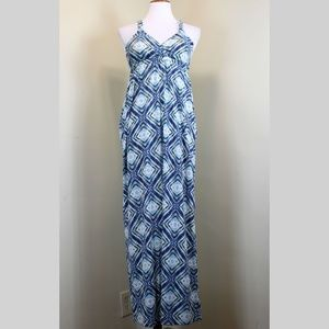 Pink Rose Blue Diamond Print Racerback Maxi Dress